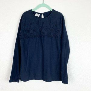 Zara Kid Girl's 9 Blue Embroidered Long Sleeve Top